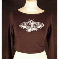 death's head moth long sleeve crop top, black and white, screen printed by hand, original drawing occult witchy