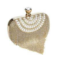 Tassel Rhinestones Clutch Beading Lady Evening Bags Diamonds Small Purse Chain Shoulder Handbags Wedding Party Evening Bag