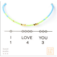 Friendship Bracelet - I Love You 143 - Mint/Blue