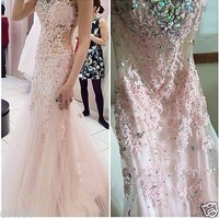 Light Pink Tulle Mermaid Evening Dress Applique Beading Prom Gown Women Dress