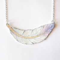 Hand Drawn Feather Necklace - Made To Order