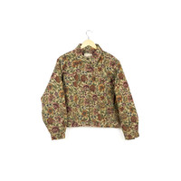 FLORAL TAPESTRY JACKET / woolrich / boxy fit / baggy / barn coat / 90s grunge / woven fabric / flowers / oversized denim jackets / large