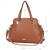 Classic Zipper Chains Brown PVC Shoulder Bags For Women   martofchina.com-Page Cached