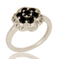 925 Sterling Silver Black Onyx And White Topaz Gemstone Cluster Cocktail Ring