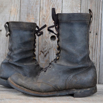 Vintage Rare WWII Red Wing Sky Trooper Rough Out Leather USMC Split Sole Jump Boots, 10.5 E