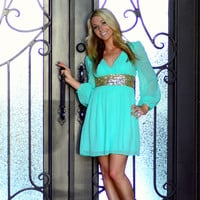 THE GLIMMERING GODDESS MINT CHIFFON DRESS