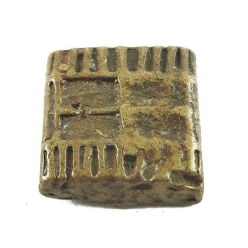 African Charms / Akan gold Weight - Square Form with Symbol 4 / Trinket, unique good luck charm / Akan people old curency / African art