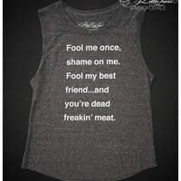 Aeropostale Pretty Little Liars Fool Me Tank - Black,