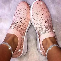 Explosive full diamond casual single shoes elastic knitted shoes pink