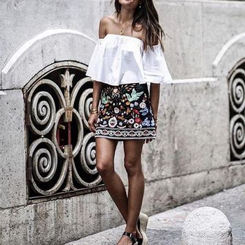 Retro Embroidered Floral Mini Skirt