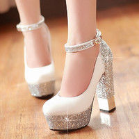 2016 Thick heel ultra high heels single shoes gorgeous bride wedding shoes sexy pumps