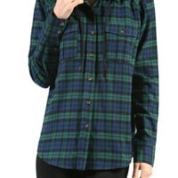 Hooded Plaid Button Down Flannel Tunic
