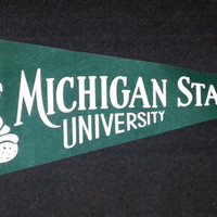 RARE Vintage 1950s-1960s Felt Michigan State University with Spartan Pennant- 12 X 30