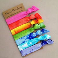 The Spring Collection - 7 Hand Dyed Hair Ties by Elastic Hair Bandz on Etsy