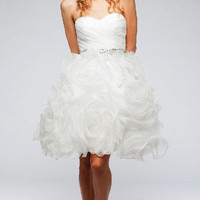 KC14623 White Short Wedding Dress or Cocktail by Kari Chang Couture