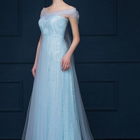 Snow Beaded Mesh Princess Gown