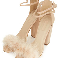 RUFFLE FEATHER SANDALS