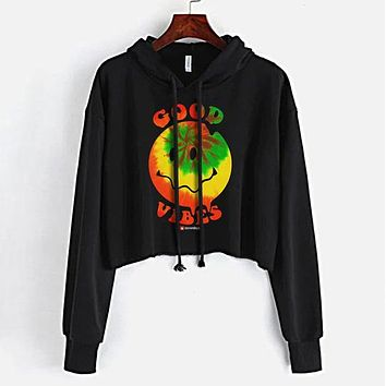 Good Vibes Happy Face Crop Top Hoodie