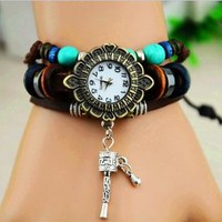 Vintage Style Leather Belt Flower Dial Watch with Prayer Whe