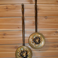 Vintage Decorative Wood and Brass Wall Hanging, Decorative Bed Warmers, Men Arm Wresting