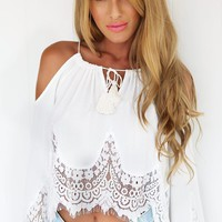 Off Shoulder Long Sleeve Crochet Lace Chiffon Cropped Top