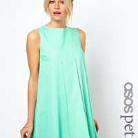 ASOS Petite | ASOS PETITE Exclusive Linen Swing Dress With Pleat Front Detail at ASOS