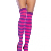 Neon Striped Thigh Highs - Purple/Pink