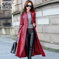 Sobretudo Feminino Maxi Long Coat Women Black Leather Plus Trench Coat Woman Autumn High Quality Pu Leather Overcoat A1461