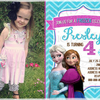 Frozen Birthday Invitation chevron with or without picture - Printable Digital file
