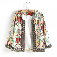 Vintage Floral Print  Embroidered  Long Sleeve Cardigan Coat