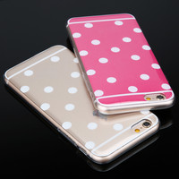 High quality i6 Back Covers Cute Candy Colors Polka Dot TPU Phone Cases For Apple iphone 6 4.7'' Soft Silicon Protective Housing