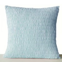 Amore Beaute Handcrafted Blue Cotton Voile Pillow Covers - Ruched Pillow Cover - Euro Sham Cover - Sky Blue Cushion Cover - Pleated Pillows - Cotton Cushion Covers - Blue Euro Sham- Handmade Decorative Throw Pillow Cover in Blue Cotton Fabric -Wedding - An