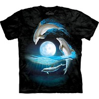 Dolphins Jumping Over the Moon T-Shirt