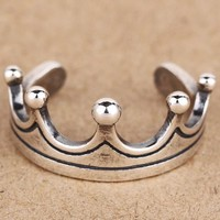 vintage 925 silver crown ring men womens gift 30  number 1