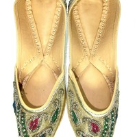 Indian Flat Womens Shoes with Traditional Sequin Embroidered Paisley Pattern