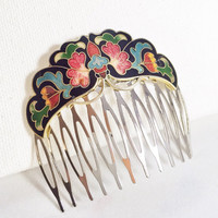 Cloisonné flower hair comb, vintage hair comb, silver hair comb, black cloisonné hair comb, red flower hair comb, blue flower hair comb