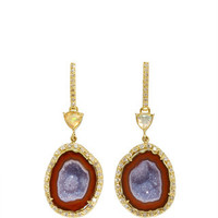Geode, Water Opal and Diamond Push Back Earrings | Moda Operandi