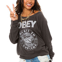 Obey Tee Rocket To Nowhere Raglan in Graphite Grey