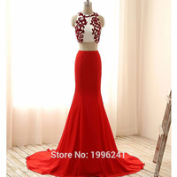 2016 Prom Dress Long Graduation Dresses Two Piece Mermaid Vestido De Festa Formatura Renda Imported Party Pedrarias Homecoming