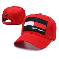 TOMMY HILFIGER Summer Fashionable Women Men Sports Sun Hat Baseball Cap Hat Red