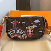 LV Graffiti Print Mini Mahjong Bag Key Case