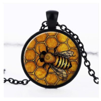 Bees Photo Glass Cabochon Pendant Necklace for Women