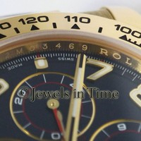 Rolex Daytona Chronograph 18k Yellow Gold Blue Dial Mens Watch Box/Papers 116518