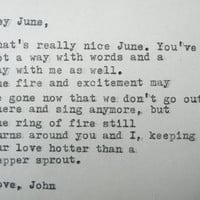 LOVE LETTER, by JOHNNY Cash to June Carter typed on a vintage typewriter
