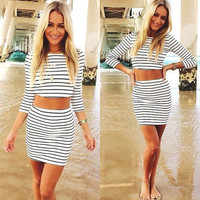 HOT STRIPE TWO PIECE DRESS