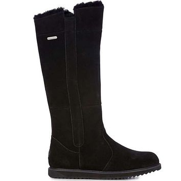 Emu Australia Moonta - Waterproof Black Suede Fur-Lined Tall Boot