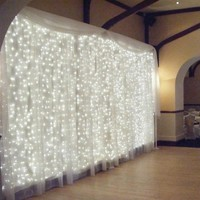 300leds fairy string icicle led curtain light 300 bulbs Outdoor Home Xmas Christmas Wedding garden party decoration 220V 4.5M*3M
