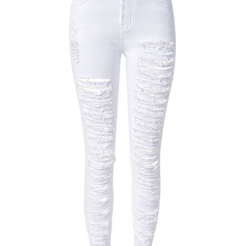 White Extreme Distressed Rip Detail Skinny Jeans
