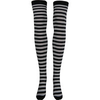Stripe Opaque Thigh High Socks in Black and White