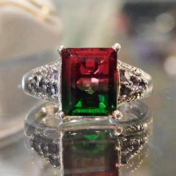 Vintage Watermelon Quartz Ring Tanzanite Accent Stones 2.90 Ct Sterling Silver 925 Emerald Cut Ring  Gemstone Size 6 Six Estate Jewelry Ring